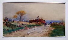 LANDSCAPE BOSHAM WEST SUSSEX FIGURES PASSING A FARM W/COL WILFRED BALL C1900