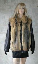 GORGEOUS GENUINE COYOTE FUR and BLACK LEATHER JACKET / VEST, size XL, new
