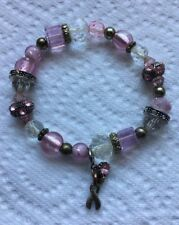Vintage Pink Hand Crafted Art Glass Beaded Stretch Bracelet Jewelry Jh-10