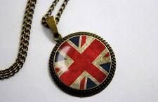 Union Jack Flag - Vintage Antique Bronze Tone Photo Glass Dome Necklace Pendant