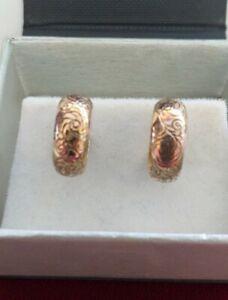 Pair of 9ct Rose Gold Pattern Decorative Hoop Earrings