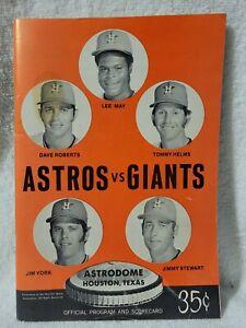 1972 Astros vs. Giants Game Souvenir Program  MARKED scorecard