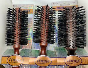 Annie Wooden Classic Round Radial Hair Brush Boar Bristles 3 Sizes