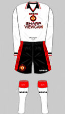 Camicia Calcio Da Uomo & Calze Kit-Manchester United-AWAY 1996 UMBRO SHARP XXL