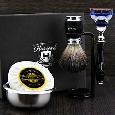 Men's Shaving Set ft Gillette Fusion & Pure Black Badger Brush Gift Kit for HIM