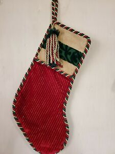 """Christmas Stocking   Green, Red and Gold  Tassels  26"""" Tall"""