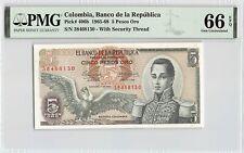 Colombia, 1965 P-406b PMG Gem UNC 66 EPQ 5 Pesos Oro