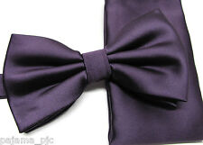 Eggplant Purple Men's Butterfly Style Pre-tied Bowtie & Pocket Square Hanky 100P