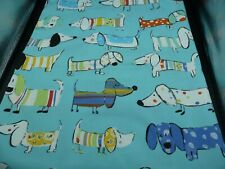Cotton Fabric FQ -   MOMO - Sausage Dogs on Turquoise