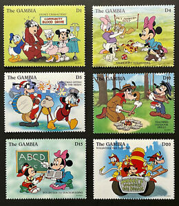 GAMBIA DISNEY VOLUNTEERS STAMPS 1996 MNH FIREMAN SCOUTS BLOOD DRIVE ADOPT A PET