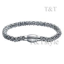 TTstyle 6mm Silver Stainless Steel Popcorn Magnet Buckle Bracelet