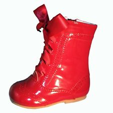 BABY-INFANT GIRLS SEVVA SPANISH PATENT LEATHER RIBBON LACE UP BOOTS SMALL FIT