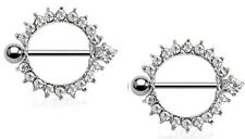 (1 Pair) Full Circle Nipple Shields with Clear Cz Gems (316L) Surgical Steel 14g