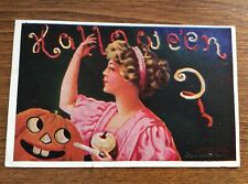 BERNHARDT WALL Halloween JOL Postcard - Vintage 1909 Artist Signed