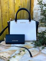 NWT Michael Kors LG leather Ellis Color Block Satchel/wallet option Black/white