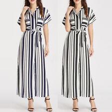 Celmia Womens Casual Striped Short Sleeve Chiffon Split Long Maxi Dress Sundress