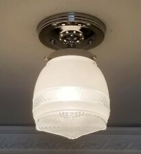 326b Vintage 40's CEILING LIGHT lamp fixture glass shade bath antique Kitchen