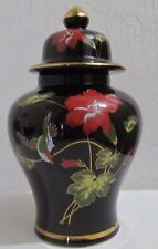 Ginger Jar/Urn Vase Made in Japan Red Poppies Black 8 1/2 Inches to Top of Lid