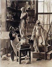 FEMME NUE posant dans le STUDIO d'un ARTISTE - Gravure 19e (d'après E. Dantan)