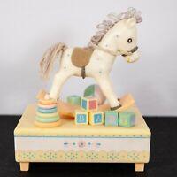 Vtg Hallmark Baby Rocking Horse Christmas Moving Music Box - Made in Hong Kong
