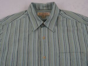 Tommy Bahama Men's L/S Button Down Light Blue Striped Casual Dress Shirt - Small