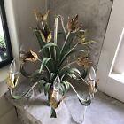 Vintage Italian Tole Tulips Chandelier Flowers