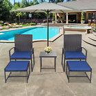 5 Pcs Rattan Garden Furniture Set Patio Outdoor Table Chairs Ottoman Footstool