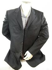 Hugo Boss Men's Blazer Size 40 R Black Pin Striped Notched Collar 3 Button
