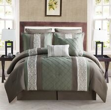 8-Piece Comforter Bed in a Bag Set Embroidered Bedding King Size Green Brown