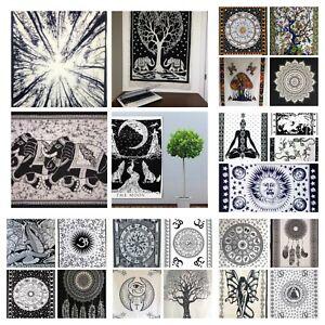 BLACK WHITE Wall Hanging Tapestry Hippie Bohemian Boho Mandala Small Poster