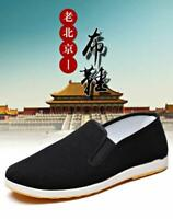 Men Martial Art Kung Fu Chinese Slip On Rubber Sole Canvas Slipper Nonslip Shoes