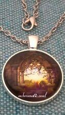 Gothic Portico Fantasy Landscape Glass Dome Pendant Silver Colour Necklace Chain