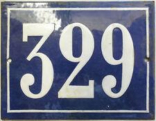 Large old French house number 329 door gate plate plaque enamel steel metal sign