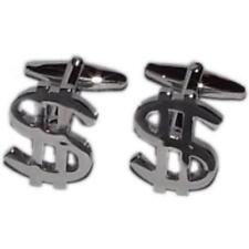 Silver Dollar $ Currency Symbols Cufflinks With Gift Pouch Money America Present