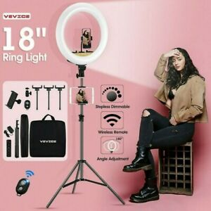 """18"""" LED Dimmable Ring Light with Tripod Stand Phone Holder Youtube Live Lamp"""