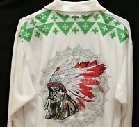 American Indian Embroidered Long Sleeve Polo Style Shirt_Sz.L_Pique Cotton Blend