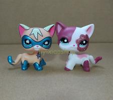 2pcs Super Rare Littlest Pet Shop COMIC CON CAT Super Hero Pink cat #2291 LPS X