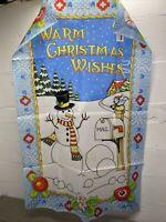 "Mary Engelbreit Full Size Flag 25""x 38"" ""Warm Christmas Wishes"" Snowman"