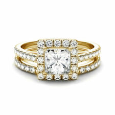 10k Yellow Gold Princess Diamond Halo Bridal Wedding Engagement Ring Band Set