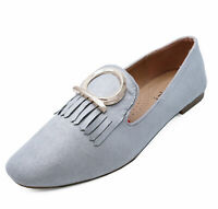 LADIES SILVER SLIP-ON FLAT LOAFERS CASUAL COMFY SMART WORK SHOES PUMPS SIZES 3-8