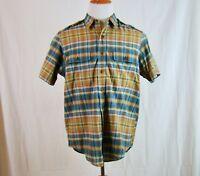 Ralph Lauren Men Button Up Short Sleeve Plaid Shirt Blue Tan Orange - Size L
