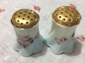 Antique Racine Bavaria Salt Pepper Shakers Hand Painted Floral Design Signed