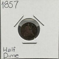 1857 Liberty Seated Half Dime Silver Coin Choice Good G Condition