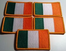 5 IRELAND Flag Military Patch With VELCRO Brand Fastener Gold Border #2