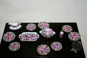 Miniature Dollhouse 21 Pc Reutter Porcelain Dishes & Serving Pcs Pink Roses 1:12