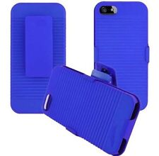 BLUE HARD SHELL CASE COVER + BELT CLIP HOLSTER KICKSTAND FOR iPHONE 5 5G SE NEW