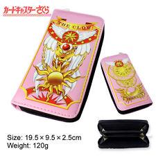 Anime Card Captor Sakura The Clow Long Zip Wallet Purse Coin Bag Cosplay Pink