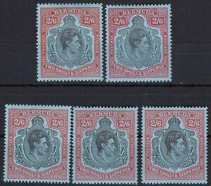 British Commonwealth. Bermuda. George VI  2/6  Key Types x5. Mint.
