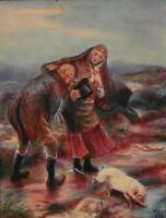 Rustic Figures with Livestock Windswept Moorland Watercolour Painting AG 1909