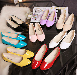 New Women Ballet Flats Shoes Ladies Leather Soft Casual Loafers Shoes Plus Size